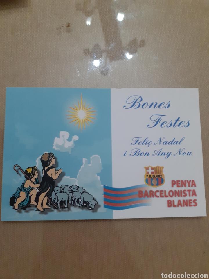 FOTO POSTAL FELICITACION NAVIDAD PEÑA BARCELONISTA BLANES (Postales - Postales Temáticas - Navidad)