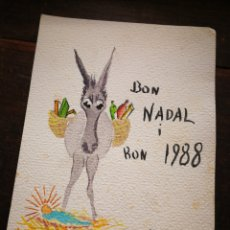 Postales: CARTA POSTAL FELICITACIÓ NADAL- PINTOR CARBONELL LLOPIS I FAMILIA (SITGES), COLOREADA. 1988.. Lote 268299574