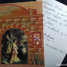 Postales: FELICITACION NAVIDAD AÑO 1953 * NACIMIENTO * EN PAPEL CORCHO. Lote 268618544