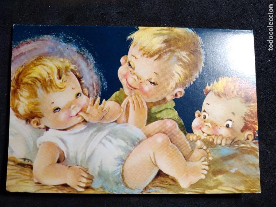 FELICITACION NAVIDAD CONSTANZA ? * NIÑOS MIRANDO A JESÚS * 1960 (Postales - Postales Temáticas - Navidad)