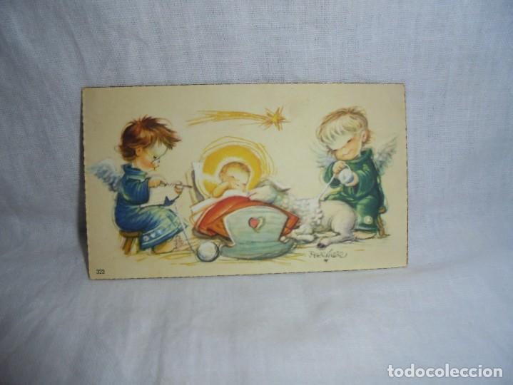 TARJEDA DE FELICITACION ANGELES CON NIÑO (Postales - Postales Temáticas - Navidad)