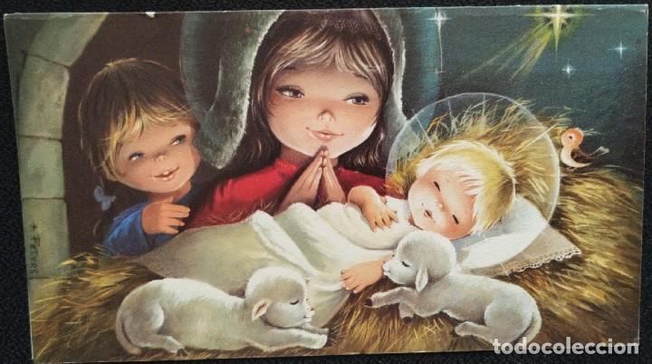 7304B - EDICIONES IND. GRAFICA BARCELONA -DIPTICA 19X10,5 CM- DATA 1971- ILUSTRA PETERS (Postales - Postales Temáticas - Navidad)