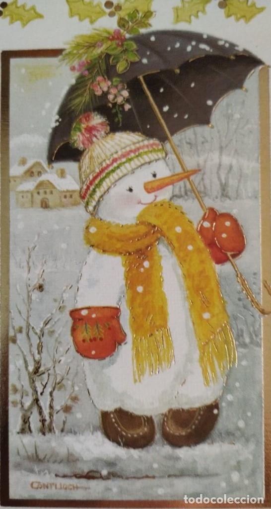 7342B - CONTIJOCH - UN PRECIOSO MUÑECO DE NIEVE -EDICIONES SUBI 10655.1 - DIPTICA 16X11 CM (Postales - Postales Temáticas - Navidad)