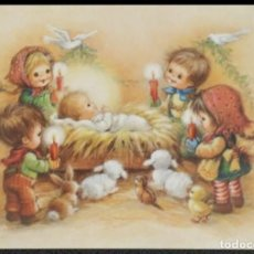 Postales: 7343B - BELÉN, NIÑOS ADORANDO A JESUS RECIEN NACIDO- VILAGES DU MONDE- DIPTICA 15X10,5 CM. Lote 277550558