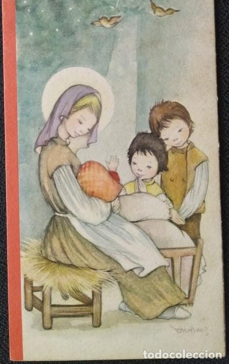 7345B -ROSER PUIG-EDIC. SABADELL SERIE CRISTIAN MOD. 4- TRIPTICA 16X8 CM (CERRADA)DIBUJO EN INTERIOR (Postales - Postales Temáticas - Navidad)