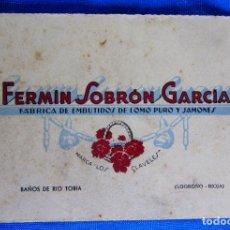 Postales: FERMÍN SOBRÓN GARCIÁ. FÁBRICA DE EMBUTIDOS. FELICES PASCUAS. BAÑOS DEL RÍO TOBIA, LA RIOJA, S/F.. Lote 279659368