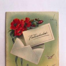 Postales: FELICITACIÓN NAVIDEÑA TROQUELADA. ILUSTRA C.VIVES. EDIC. CYZ 1028/A (A.1956) DEDICADA. Lote 280964098
