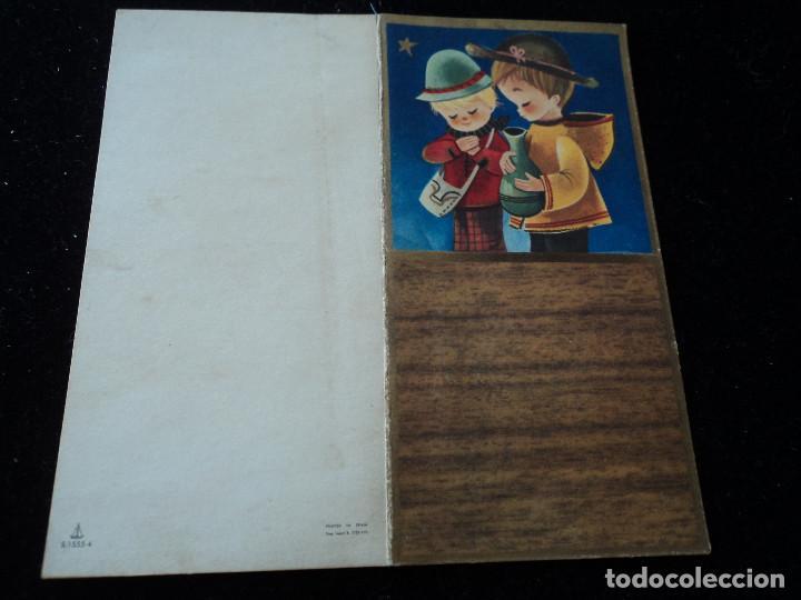 DÍPTICO ILUSTRADO NAVIDAD NIÑO IMPERDIBLE Y JARRON - ED. VELERO S/1555-4 - 12 X 12 CM (Postales - Postales Temáticas - Navidad)
