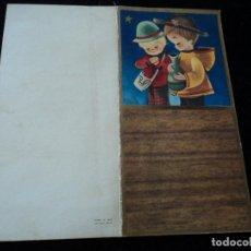 Postales: DÍPTICO ILUSTRADO NAVIDAD NIÑO IMPERDIBLE Y JARRON - ED. VELERO S/1555-4 - 12 X 12 CM. Lote 289561888
