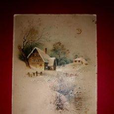 Postales: POSTAL ANTIGUA NAVIDAD UN POCO DE RELIEVE. Lote 294067648