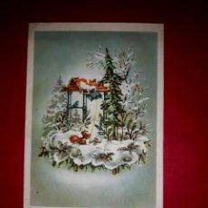 Postales: POSTAL DE NAVIDAD ANTIGUA 1959 TIPO CARTA TIENE RELIEVE DE PURPURINA. Lote 294461403