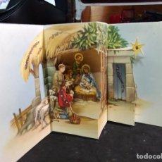 Postales: FELICITACION TROQUELADA NAVIDAD LOPEZ * NACIMIENTO * ADORNADA CON PURPURINA - 1964. Lote 296005863