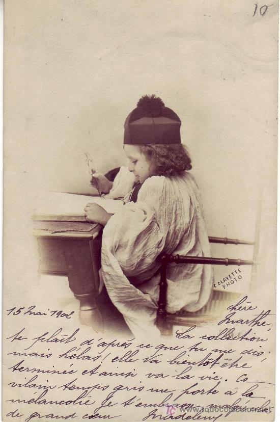 POSTAL DE NIÑO-CIRCULADA EN 1902 CON SELLO Y MATASELLO FRANCÉS (Postales - Niños)