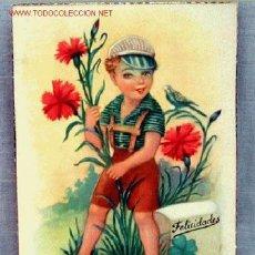 Postales: POSTAL DIBUJADA GIRONA FELICIDADES NIÑO CON CLAVELES ESTAMPERÍA RAM BARCELONA AÑOS 50 SIN CIRCULAR. Lote 1350015