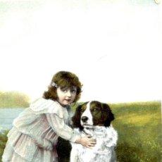 Postales: NIÑA CON PERRO. POSTAL COLOR, POSIBLEMENTE ALEMANA, C. 1910. NIÑ. Lote 24864604