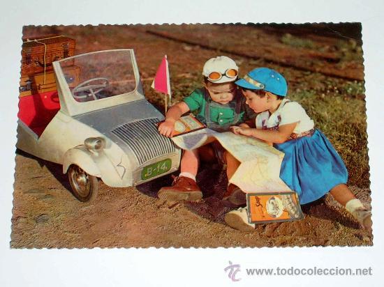 POSTAL TEMÁTICA INFANTIL CON VOISIN BISCUTER SAUQUILLO, BASOLI. ESCRITA POR DETRÁS. AÑO 1956. (Postales - Postales Temáticas - Niños)