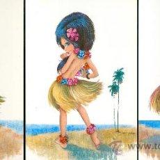 Postales: HAWAIANA. 3 POSTALES COLOR, NIÑA, AÑOS 60-70. Lote 25345686