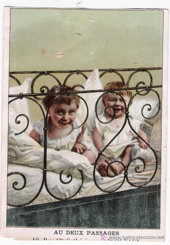 POSTAL FRANCESA.PUBLICIDAD DE AUX DEUS PASSAGES - BORDEAUX. PARFUMERIE,BONNETERIE.... (Postales - Postales Temáticas - Niños)