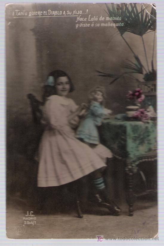 POSTAL ESPAÑOLA. FRANQUEADO Y FECHADO EN 1910. (Postales - Postales Temáticas - Niños)