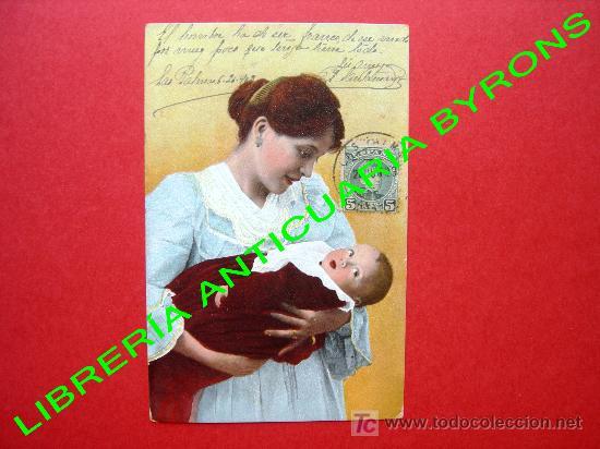 TARJETA POSTAL ANTIGUA - MADRE CON BEBE (Postales - Postales Temáticas - Niños)