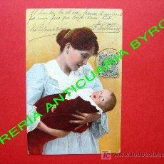 Postales: TARJETA POSTAL ANTIGUA - MADRE CON BEBE. Lote 18752945