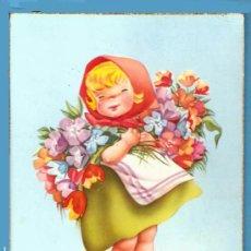 Postales: POSTAL CYZ SERIE 534/B, DIBUJOS DE I.VERNET. AÑOS 60. NUEVA. NIÑA CON FLORES.. Lote 21199595