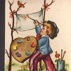 Postales: POSTAL DE UN NIÑO PINTANDO 1955. Lote 24617807