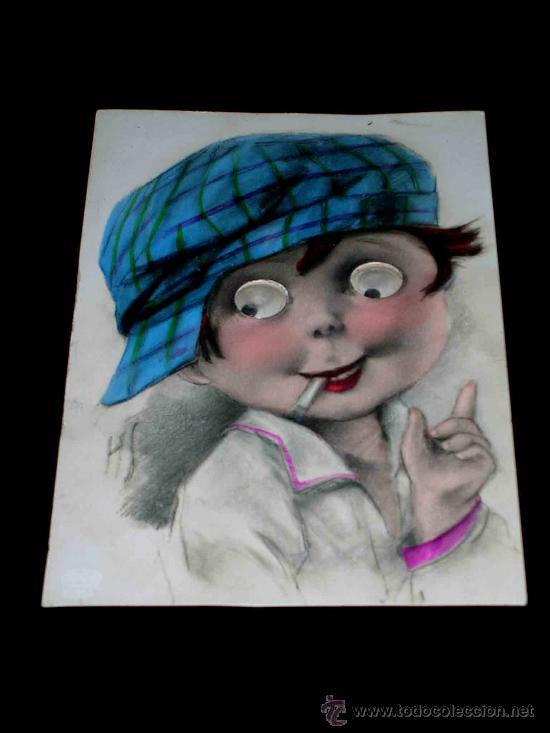 POSTAL INFANTIL NIÑO CON OJOS MÓVILES, ORIGINAL AÑOS 50. (Postales - Postales Temáticas - Niños)
