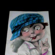Postales: POSTAL INFANTIL NIÑO CON OJOS MÓVILES, ORIGINAL AÑOS 50.. Lote 26023576