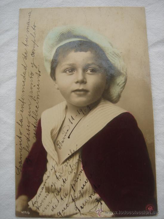 POSTAL ANTIGUA CON BONITO MOTIVO. CIRCULADA, ESCRITA, CON SELLO 10 CTS ALFONSO XIII Y FECHADA 1907 (Postales - Postales Temáticas - Niños)