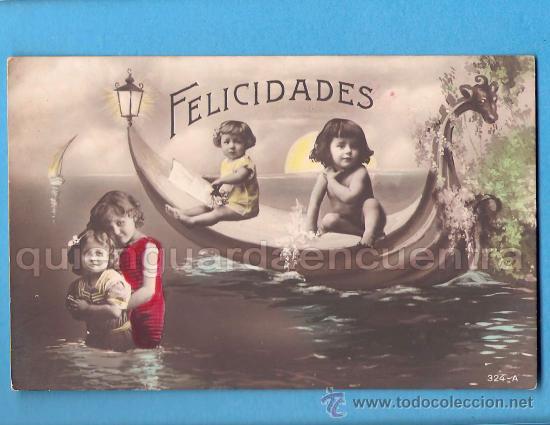 POSTAL DE FELICITACIÓN CON NIÑOS EN BAÑADOR EN UN BARCO ESCRITA EN 1915 COLOREADA (Postales - Niños)