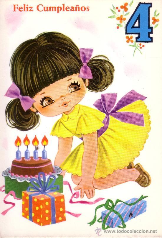 bonita postal con dibujos de una niña celebrand - Kaufen Alte ...