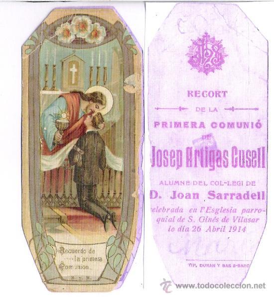 S.GINES DE VILASAR ABRIL 1914 **RECORT DE LA PRIMERA COMUNIO JOSEP ARTIGAS CUSELL (Postales - Postales Temáticas - Niños)