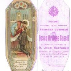 Postales: S.GINES DE VILASAR ABRIL 1914 **RECORT DE LA PRIMERA COMUNIO JOSEP ARTIGAS CUSELL. Lote 29090214