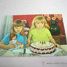 Postales: POSTAL NIÑAS CON MUÑECA Y TARTA. Lote 31358939