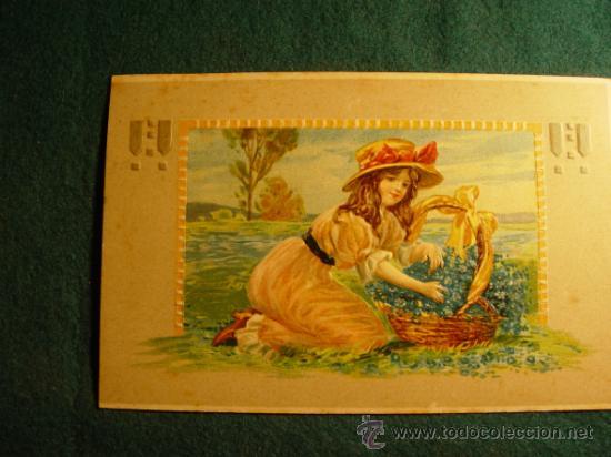 POSTAL INFANTIL ANTIGUA - TROQUELADA - ESCRITA EN 1909 - SELLO - (Postales - Postales Temáticas - Niños)