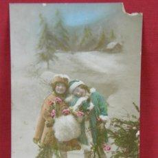 Postales: TARJETA PAREJA NIÑAS COLOREADA EDITOR L. BRANGER, NANTERRE 1919 ESCRITA NAVIDAD. Lote 32114490