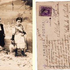 Postales: POSTAL FOTOGRÁFICA, NENS AMB VESTITS TÍPICS CATALANS, 1918. Lote 32145962
