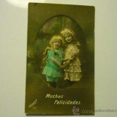 Postales: POSTAL NIÑOS FECHADA 1921-COLOREADA. Lote 33640612