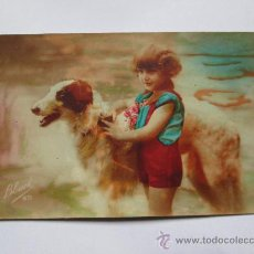 Postales: NIÑA Y PERRO, GIRL AND DOG, FILLE ET CHIEN, 1928 MADE IN FRANCE, FABRIQUE EN FRANCE. Lote 33692418