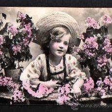 Cartes Postales: POSTAL FOTOGRÁFICA COLOREADA. NIÑA. CIRCULADA. Lote 34479696