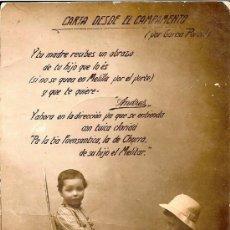 Postales: ANTIGUA POSTAL NIÑO CON ESCOPETA DICTANDO UNA CARTA CON TEXTO DE GARCIA PORCEL . Lote 34493889