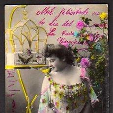 Cartes Postales: POSTAL FOTOGRÁFICA COLOREADA. SEÑORITA . CIRCULADA 1908. . Lote 34880081