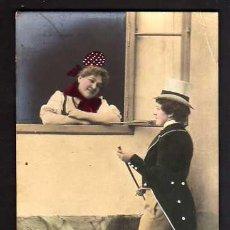 Postales: POSTAL FOTOGRÁFICA COLOREADA. ROMÁNTICA. CIRCULADA 1903 . . Lote 34880110