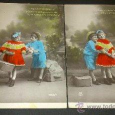 Postales: 2 ANTIGUAS POSTALES ROMANTICAS NIÑOS LA SOMBRERERA ESCRITAS A JUMILLA MURCIA . Lote 34953495