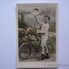 Postales: TRASMIERA,POSTAL ANTIGUA,NIÑO CON BICICLETA,PHOT SAZERAC,SERIE IRIS 2114,ESCRITA. Lote 35041153