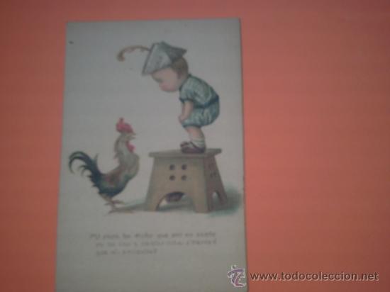 POSTAL DE NIÑO CON GALLO - POST CARD - PRINTED IN USA - Nº 17 - (Postales - Postales Temáticas - Niños)