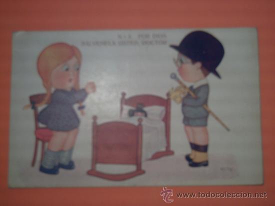 POSTAL DE NIÑA CON NIÑO DOCTOR- Nº 857 - SERIE MÉDICO : E. HERTOGS-EDICIONES VICTORIA-BARCELONA (Postales - Postales Temáticas - Niños)