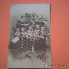 Postales: POSTAL DE CINCO BEBES EN CESTO DE MIMBRE- . Lote 35892646