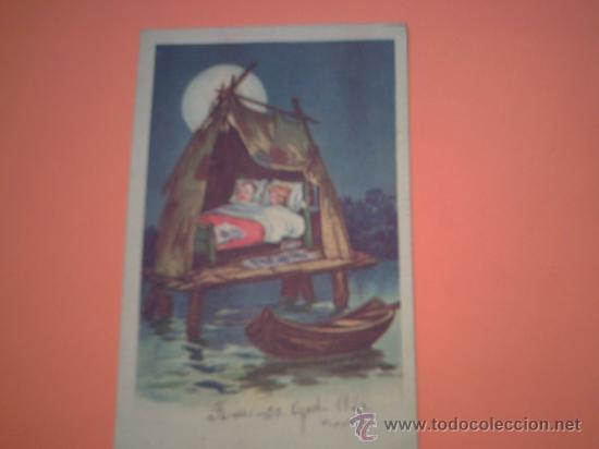 POSTAL DE NIÑOS EN CABAÑA SOBRE PALAFITOS - CIRCULADA REUS 30 AGOST. 1924 - (Postales - Postales Temáticas - Niños)